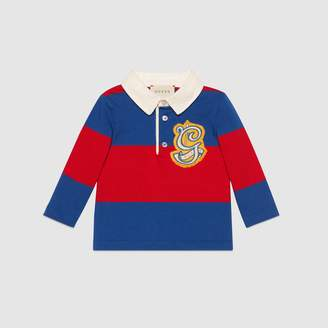 Gucci Baby striped cotton polo with G patch