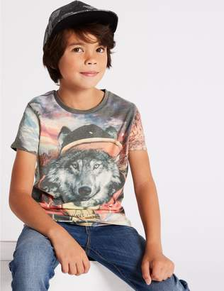 Marks and Spencer Cotton Rich Graphic T- Shirt (3-16 Years)