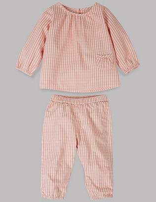 Marks and Spencer 2 Piece Woven Checked Top & Bottom Outfit