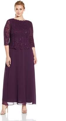Alex Evenings Women's Plus-Size Long Mock Dress with Sequin Lace Bodice