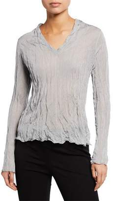 Theory Crinkle V-Neck Long-Sleeve Metallic Crepe Top