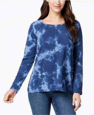 Style&Co. Style & Co Cotton Tie-Dyed High-Low T-Shirt, Created for Macy's