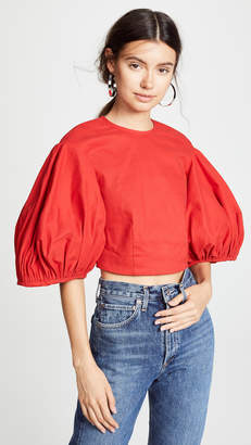 Edit Balloon Sleeve Crop Top
