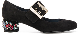 Lanvin Embroidered Suede Mary Jane Pumps in Black $1,095 thestylecure.com