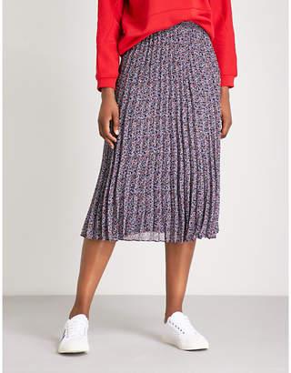 Claudie Pierlot Pleated floral-print crepe midi skirt