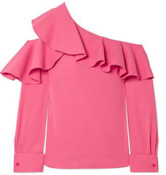 Oscar de la Renta Ruffled One-shoulder Stretch-silk Crepe Top - Pink