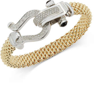 Macy's Diamond Horseshoe Clasp Mesh Bracelet (5/8 ct. t.w.) in 14k Gold-Plated Sterling Silver