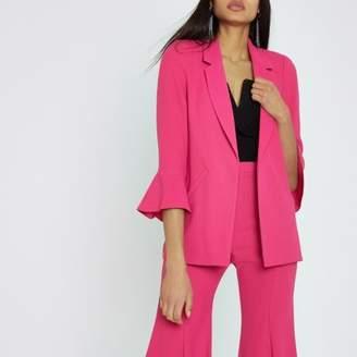 River Island Bright pink frill sleeve blazer