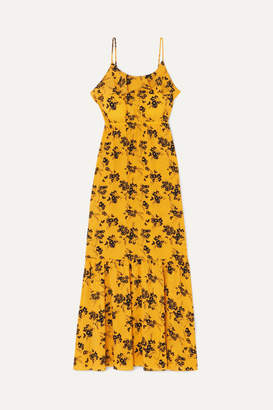 MICHAEL Michael Kors Ruffled Floral-print Crepe Midi Dress - Yellow