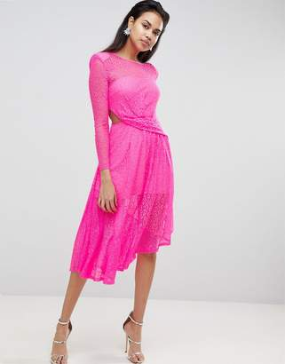 Asos Design Neon Lace Asymmetric Hem Midi Dress