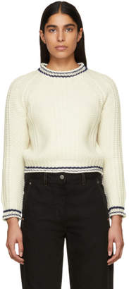 Carven White Striped Trim Sweater