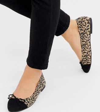 Asos Design DESIGN Wide Fit Larva toe cap ballet flats in leopard print