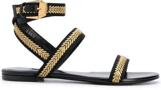 Versace flat embroidered sandals