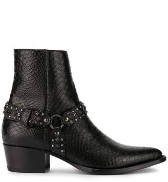 Amiri studded snake effect ankle boots