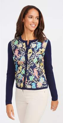 J.Mclaughlin Maine Silk Front Cardigan in Jeweled Fish