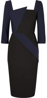 Roland Mouret Hughes Asymmetric Two-tone Stretch-crepe Dress - Navy