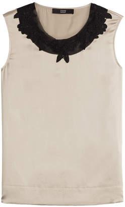 Steffen Schraut Silk Top with Contrast Collar