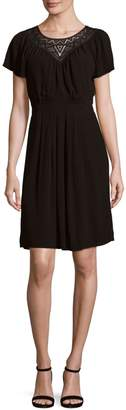 Rebecca Taylor Crepe Lace Pleated Dress