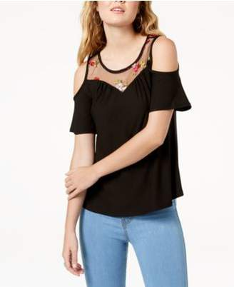 Ultra Flirt by Ikeddi Juniors' Embroidered Cold-Shoulder Top