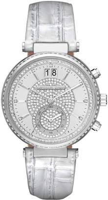 Michael Kors Sawyer Pave Crystal Sport Watch w/ Leather Strap, Silvertone