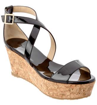 Jimmy Choo Portia 70 Patent Cork Wedge Sandal
