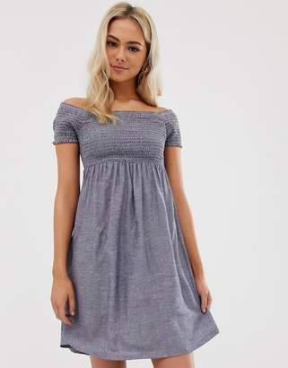 Pimkie shirred jersey dress in blue