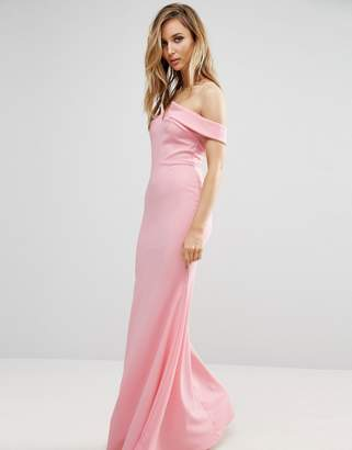 Club L Bridesmaid Off Shoulder Fishtail Maxi Dress $40 thestylecure.com