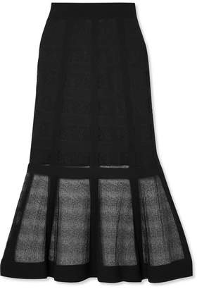 Alexander McQueen Lace-paneled Stretch-knit Midi Skirt - Black