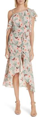 Joie Jamima Mix Shoulder Floral Silk Dress