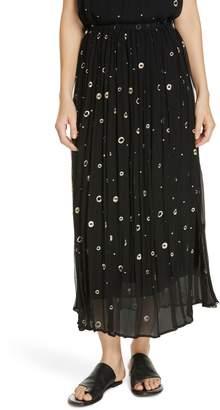 Vince Dot Metallic Embroidered Silk Midi Skirt