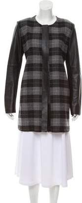 M.PATMOS Leather-Accented Wool Coat