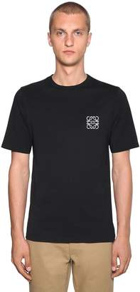 Loewe Anagram Embroidery Cotton Jersey T-Shirt