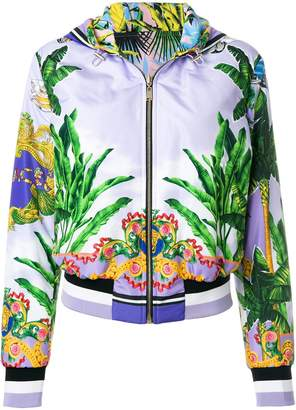 Versace printed zipped hooded jacket