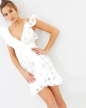 Missguided Asymmetric Grid Frill Tie Waist Dress