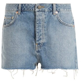 Raey Hawaii Raw Cut Distressed Denim Shorts - Womens - Light Blue