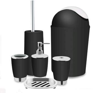 EECOO 6 Piece Plastic Bathroom Accessory Set Luxury Bath Accessories Bath Set,Lotion Dispenser Toothbrush Holder Tumbler Cup Soap Dish Trash Can Toilet Brush Set