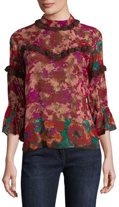 Anna Sui Floral Frills Silk Blouse