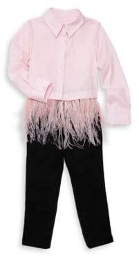 Milly Minis Little Girl's& Girl's Fringed Feather Button-Down Top
