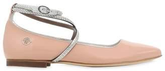 Miss Blumarine Embellished Patent Leather Ballerinas
