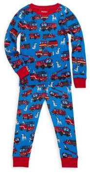 Hatley Little Boy's& Boy's Two-Piece Fire Trucks Cotton Pajama Set