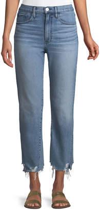 3x1 W4 Relaxed Straight-Leg Crop Jeans w/ Split Hem