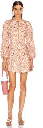 Zimmermann Goldie Scallop Short Dress in Coral Blossom   FWRD