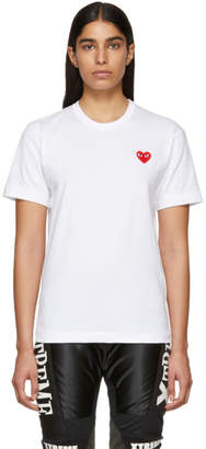 Comme des Garcons White and Red Mens Fit Heart Patch T-Shirt