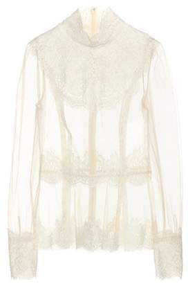 Dolce & Gabbana Lace-trimmed tulle top