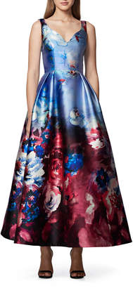 David Meister Floral Watercolor Midi Ball Gown