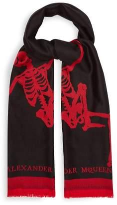 Alexander Mcqueen - Oversized Dancing Skeleton Wool Scarf - Mens - Black Red