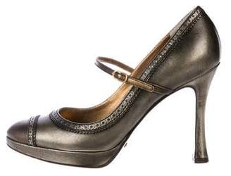 Dolce & Gabbana Metallic Leather Mary-Jane Pumps