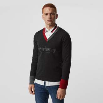 Burberry Embroidered Logo Merino Wool V-neck Sweater, Grey