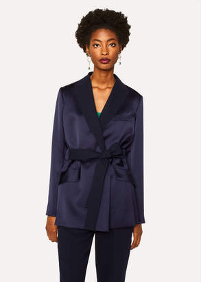 Paul Smith Women's Navy Satin Wrap Tuxedo Blazer