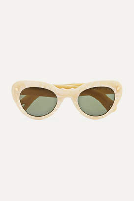 Cat Eye Lucy Folk - Wingspan Cat-eye Acetate Sunglasses - White